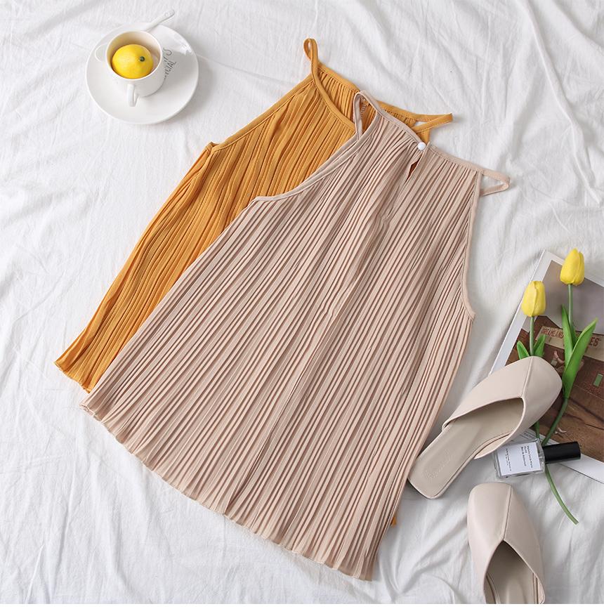 韓国 ファッション トップス ブラウス シャツ 春 夏 カジュアル PTXK026  プリーツ ホルターネック風 肩見せ セクシー オルチャン シンプル 定番 セレカジの写真13枚目