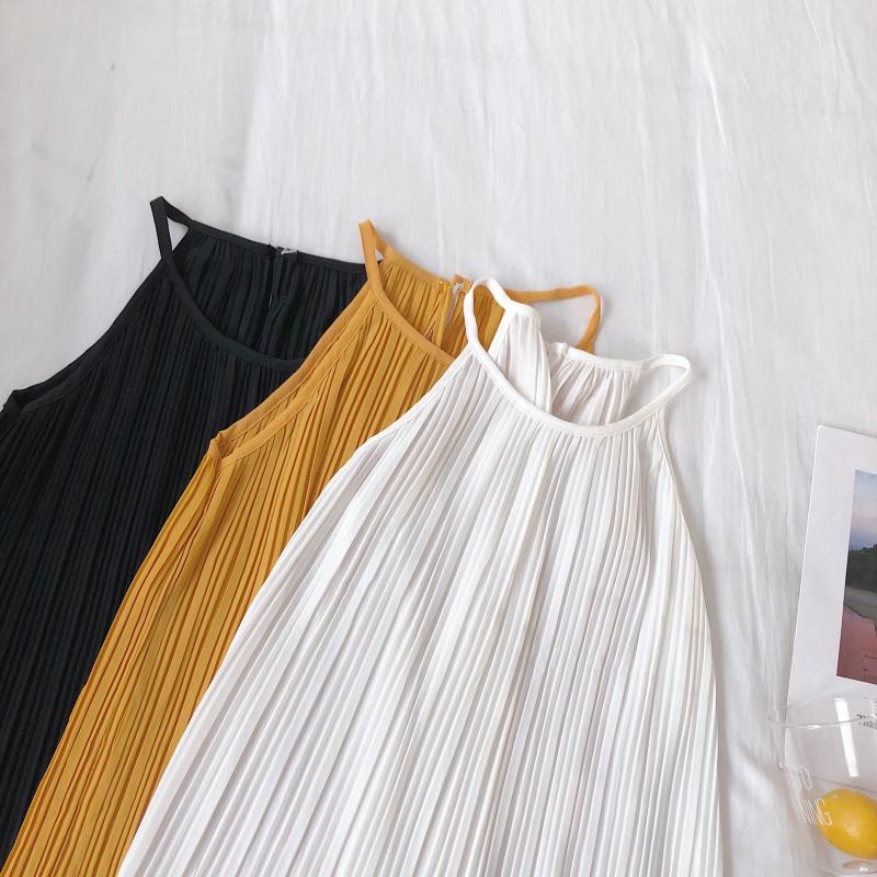 韓国 ファッション トップス ブラウス シャツ 春 夏 カジュアル PTXK026  プリーツ ホルターネック風 肩見せ セクシー オルチャン シンプル 定番 セレカジの写真14枚目