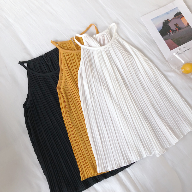 韓国 ファッション トップス ブラウス シャツ 春 夏 カジュアル PTXK026  プリーツ ホルターネック風 肩見せ セクシー オルチャン シンプル 定番 セレカジの写真15枚目