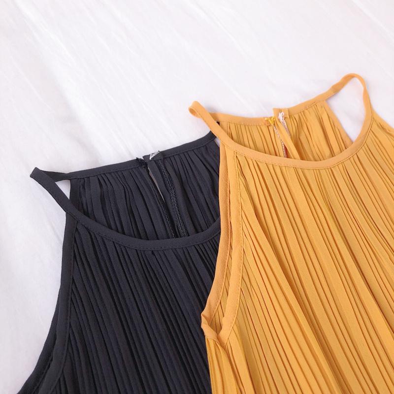韓国 ファッション トップス ブラウス シャツ 春 夏 カジュアル PTXK026  プリーツ ホルターネック風 肩見せ セクシー オルチャン シンプル 定番 セレカジの写真16枚目