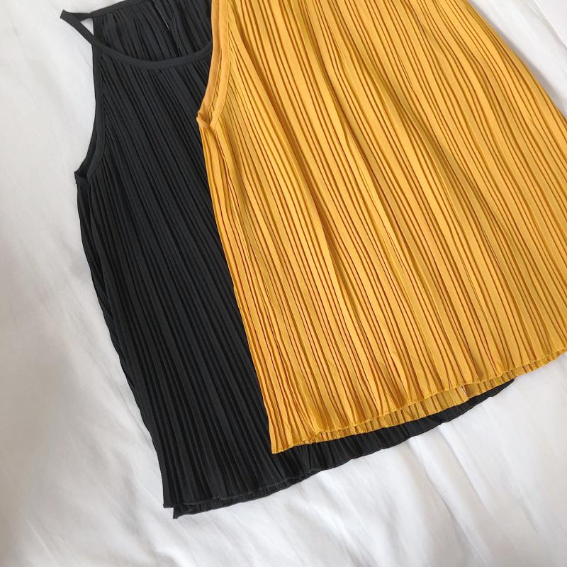 韓国 ファッション トップス ブラウス シャツ 春 夏 カジュアル PTXK026  プリーツ ホルターネック風 肩見せ セクシー オルチャン シンプル 定番 セレカジの写真18枚目