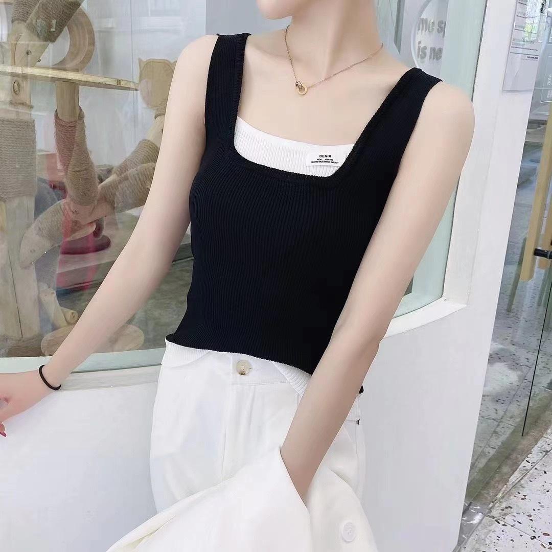韓国 ファッション トップス タンクトップ 春 夏 カジュアル PTXK027  モノトーン ロゴ リブ カットソー プルオーバー オルチャン シンプル 定番 セレカジの写真12枚目