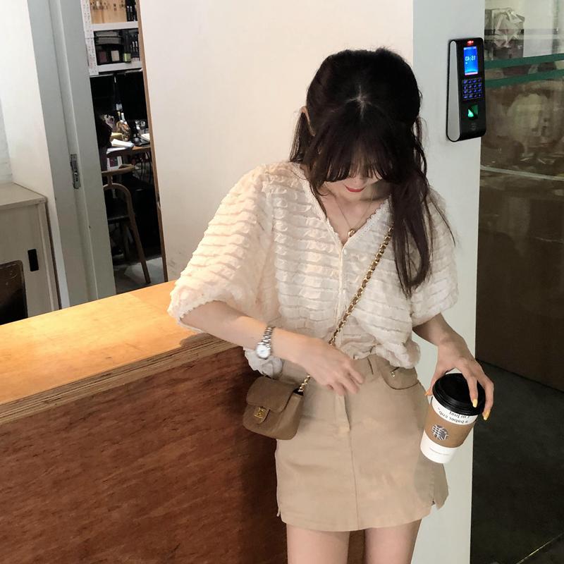 韓国 ファッション トップス ブラウス シャツ 春 夏 カジュアル PTXK059  フリル ティアード シアー パフスリーブ オルチャン シンプル 定番 セレカジの写真7枚目