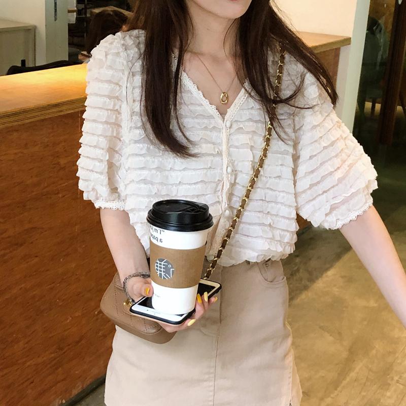 韓国 ファッション トップス ブラウス シャツ 春 夏 カジュアル PTXK059  フリル ティアード シアー パフスリーブ オルチャン シンプル 定番 セレカジの写真10枚目