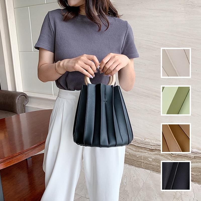 韓国 ファッション ショルダー ポシェット 春 夏 カジュアル PTXK165  プリーツ バケツ型 立体 ハンドバッグ オルチャン シンプル 定番 セレカジの写真1枚目