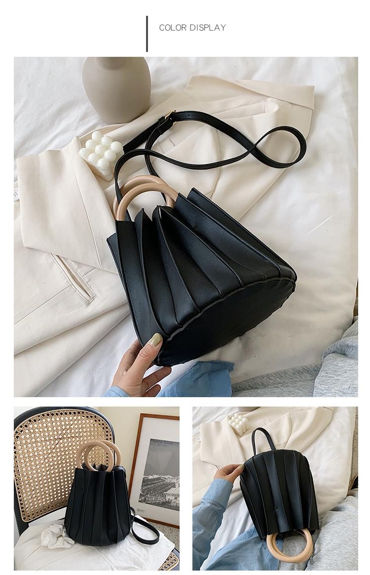 韓国 ファッション ショルダー ポシェット 春 夏 カジュアル PTXK165  プリーツ バケツ型 立体 ハンドバッグ オルチャン シンプル 定番 セレカジの写真17枚目