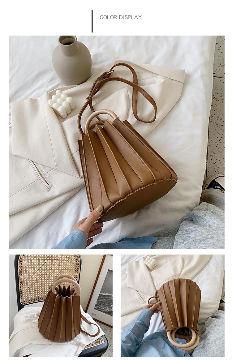 韓国 ファッション ショルダー ポシェット 春 夏 カジュアル PTXK165  プリーツ バケツ型 立体 ハンドバッグ オルチャン シンプル 定番 セレカジの写真18枚目