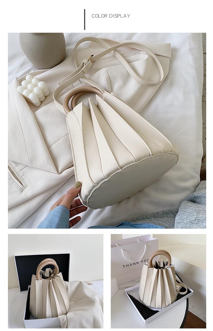 韓国 ファッション ショルダー ポシェット 春 夏 カジュアル PTXK165  プリーツ バケツ型 立体 ハンドバッグ オルチャン シンプル 定番 セレカジの写真19枚目