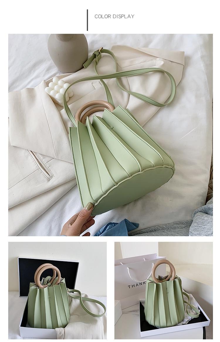 韓国 ファッション ショルダー ポシェット 春 夏 カジュアル PTXK165  プリーツ バケツ型 立体 ハンドバッグ オルチャン シンプル 定番 セレカジの写真20枚目