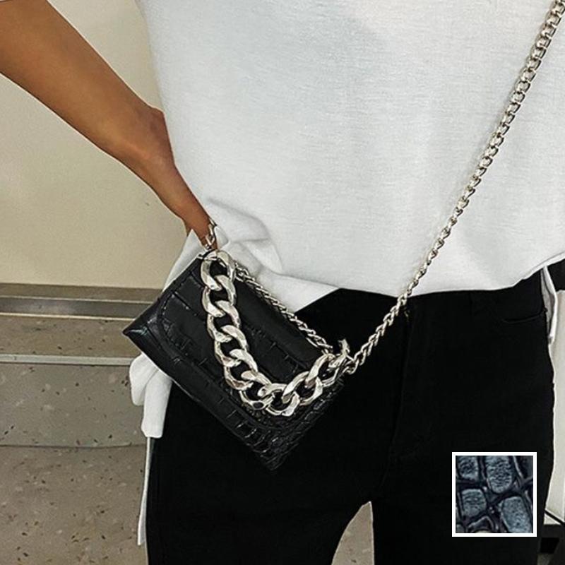韓国 ファッション ショルダー ポシェット 春 夏 カジュアル PTXK170  チェーン ウエストポーチ ミニバッグ 3Way オルチャン シンプル 定番 セレカジの写真1枚目