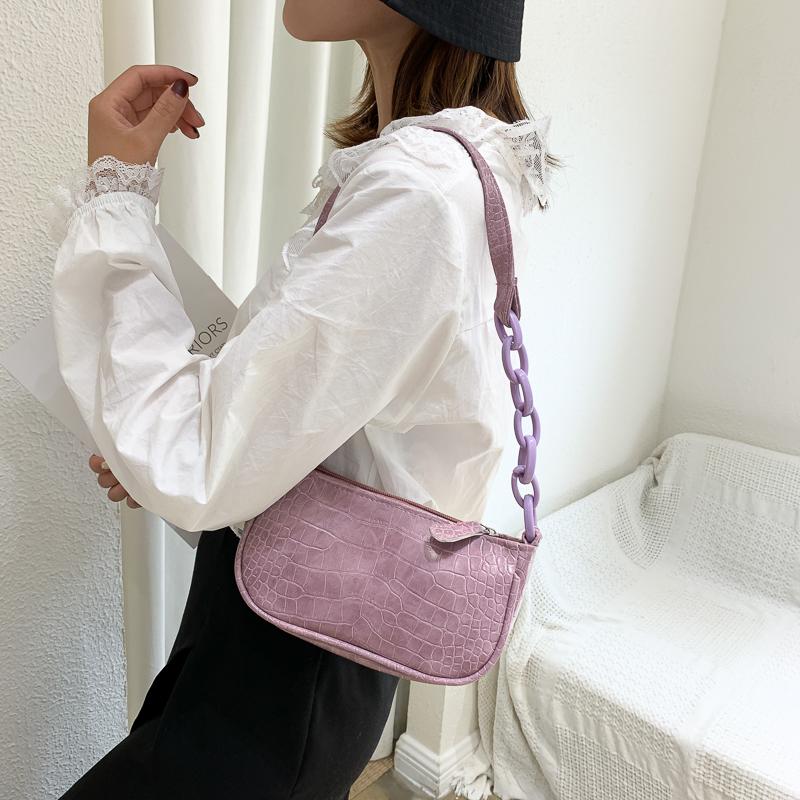 韓国 ファッション ショルダー ポシェット 春 夏 カジュアル PTXK171  チェーン風 型押し 脇下 ミニバッグ ショルダー オルチャン シンプル 定番 セレカジの写真3枚目