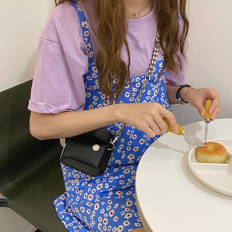 韓国 ファッション ショルダー ポシェット 春 夏 カジュアル PTXK173  チェーン コードバン風 斜め掛け ミニバッグ オルチャン シンプル 定番 セレカジの写真5枚目