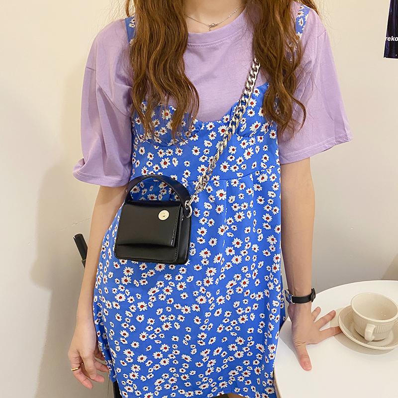 韓国 ファッション ショルダー ポシェット 春 夏 カジュアル PTXK173  チェーン コードバン風 斜め掛け ミニバッグ オルチャン シンプル 定番 セレカジの写真7枚目