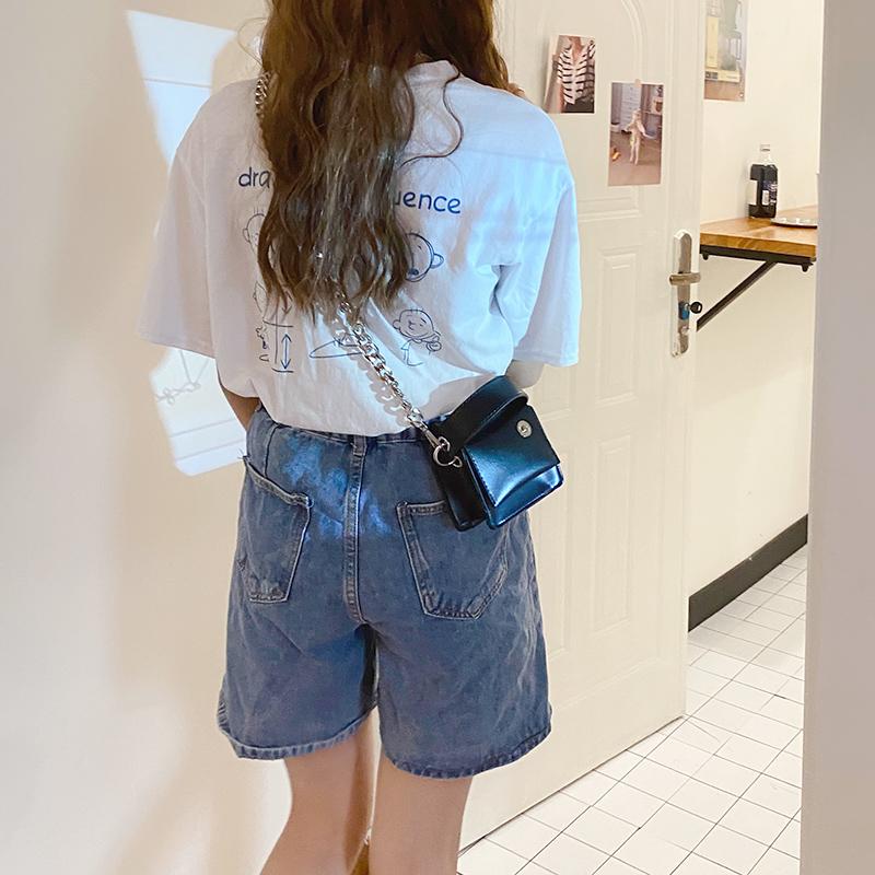 韓国 ファッション ショルダー ポシェット 春 夏 カジュアル PTXK173  チェーン コードバン風 斜め掛け ミニバッグ オルチャン シンプル 定番 セレカジの写真19枚目
