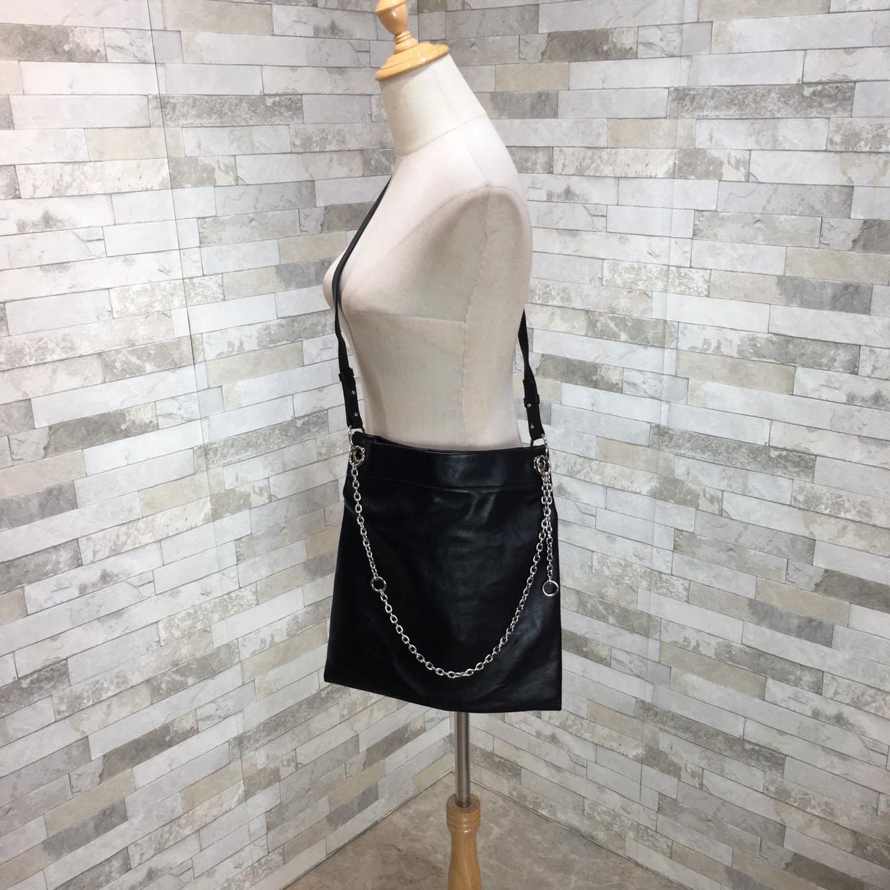 韓国 ファッション トートバッグ 春 夏 カジュアル PTXK175  チェーン レザー風 ショルダー トートバッグ オルチャン シンプル 定番 セレカジの写真14枚目