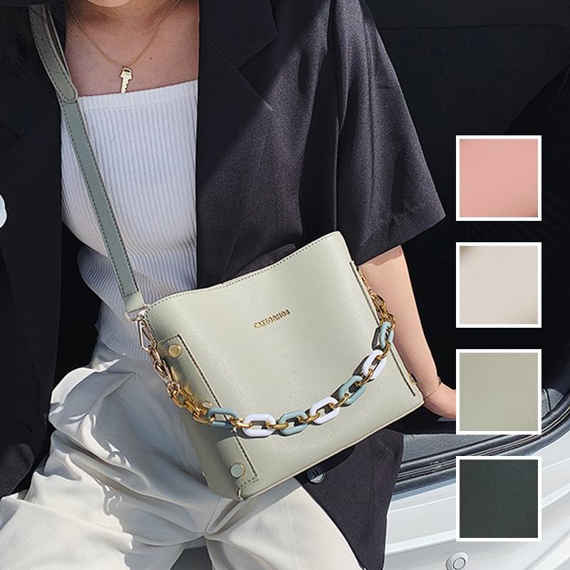 韓国 ファッション ショルダー ポシェット 春 夏 カジュアル PTXK183  チェーン風 バケツ型 バッグインバッグ 淡色 オルチャン シンプル 定番 セレカジの写真1枚目