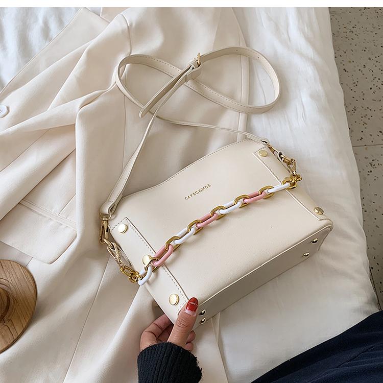 韓国 ファッション ショルダー ポシェット 春 夏 カジュアル PTXK183  チェーン風 バケツ型 バッグインバッグ 淡色 オルチャン シンプル 定番 セレカジの写真20枚目