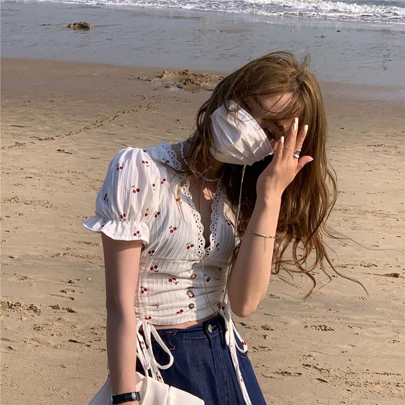 韓国 ファッション トップス ブラウス シャツ 春 夏 カジュアル PTXK257  深Vネック セルフストライプ ハイウエスト オルチャン シンプル 定番 セレカジの写真7枚目