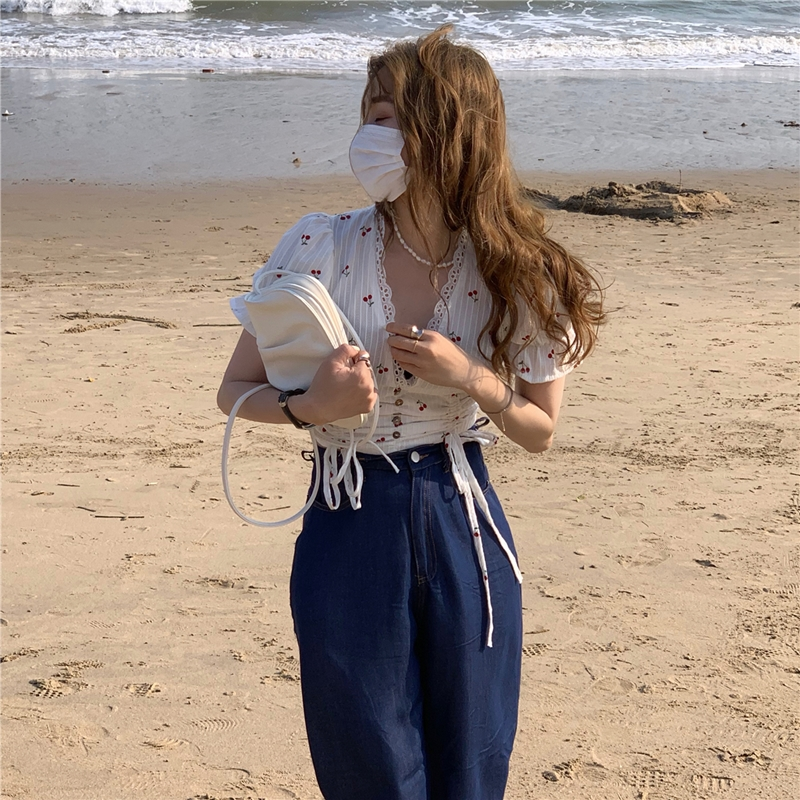 韓国 ファッション トップス ブラウス シャツ 春 夏 カジュアル PTXK257  深Vネック セルフストライプ ハイウエスト オルチャン シンプル 定番 セレカジの写真12枚目