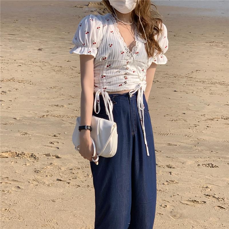 韓国 ファッション トップス ブラウス シャツ 春 夏 カジュアル PTXK257  深Vネック セルフストライプ ハイウエスト オルチャン シンプル 定番 セレカジの写真13枚目