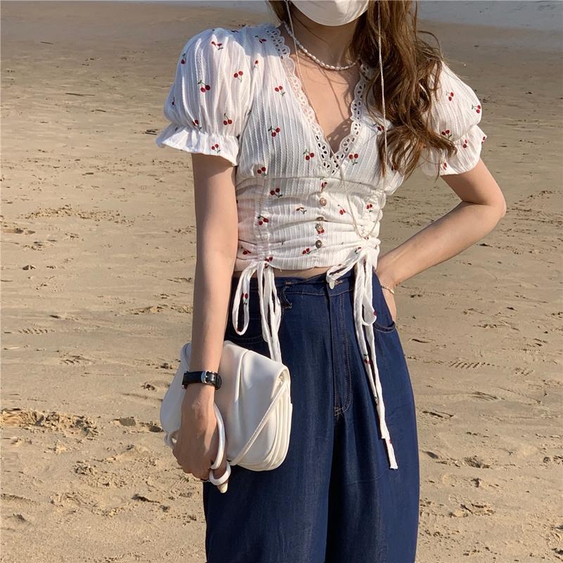 韓国 ファッション トップス ブラウス シャツ 春 夏 カジュアル PTXK257  深Vネック セルフストライプ ハイウエスト オルチャン シンプル 定番 セレカジの写真14枚目