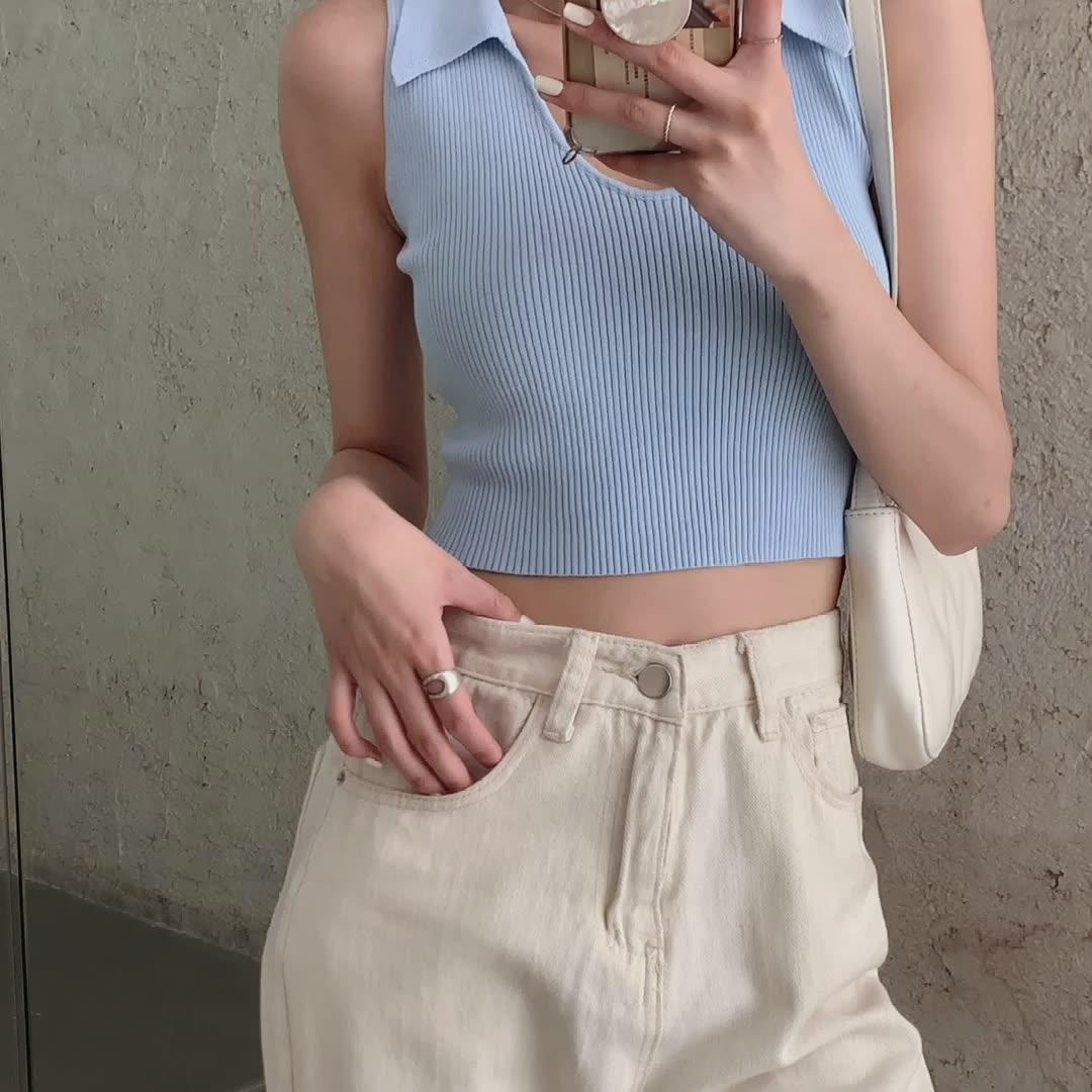 韓国 ファッション トップス Tシャツ カットソー 春 夏 カジュアル PTXK269  リブ 襟付き ノースリーブ 肌見せ キュート オルチャン シンプル 定番 セレカジの写真2枚目