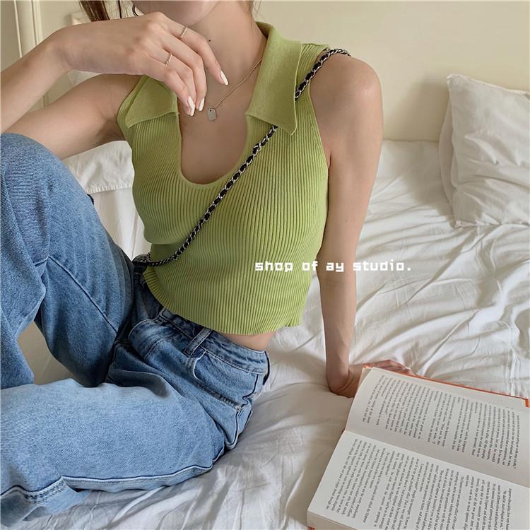 韓国 ファッション トップス Tシャツ カットソー 春 夏 カジュアル PTXK269  リブ 襟付き ノースリーブ 肌見せ キュート オルチャン シンプル 定番 セレカジの写真3枚目