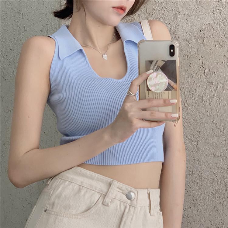 韓国 ファッション トップス Tシャツ カットソー 春 夏 カジュアル PTXK269  リブ 襟付き ノースリーブ 肌見せ キュート オルチャン シンプル 定番 セレカジの写真4枚目