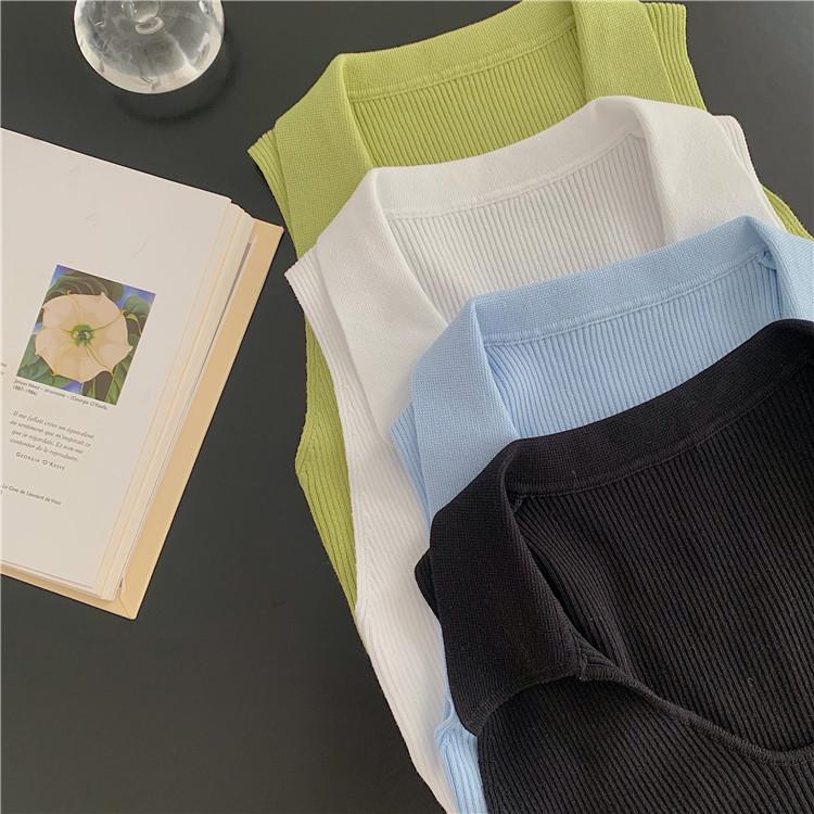 韓国 ファッション トップス Tシャツ カットソー 春 夏 カジュアル PTXK269  リブ 襟付き ノースリーブ 肌見せ キュート オルチャン シンプル 定番 セレカジの写真7枚目