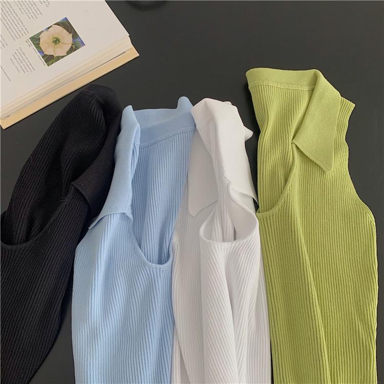 韓国 ファッション トップス Tシャツ カットソー 春 夏 カジュアル PTXK269  リブ 襟付き ノースリーブ 肌見せ キュート オルチャン シンプル 定番 セレカジの写真8枚目