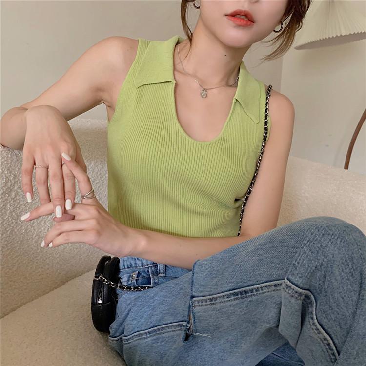 韓国 ファッション トップス Tシャツ カットソー 春 夏 カジュアル PTXK269  リブ 襟付き ノースリーブ 肌見せ キュート オルチャン シンプル 定番 セレカジの写真9枚目