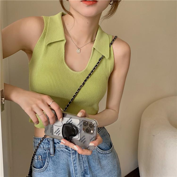 韓国 ファッション トップス Tシャツ カットソー 春 夏 カジュアル PTXK269  リブ 襟付き ノースリーブ 肌見せ キュート オルチャン シンプル 定番 セレカジの写真10枚目