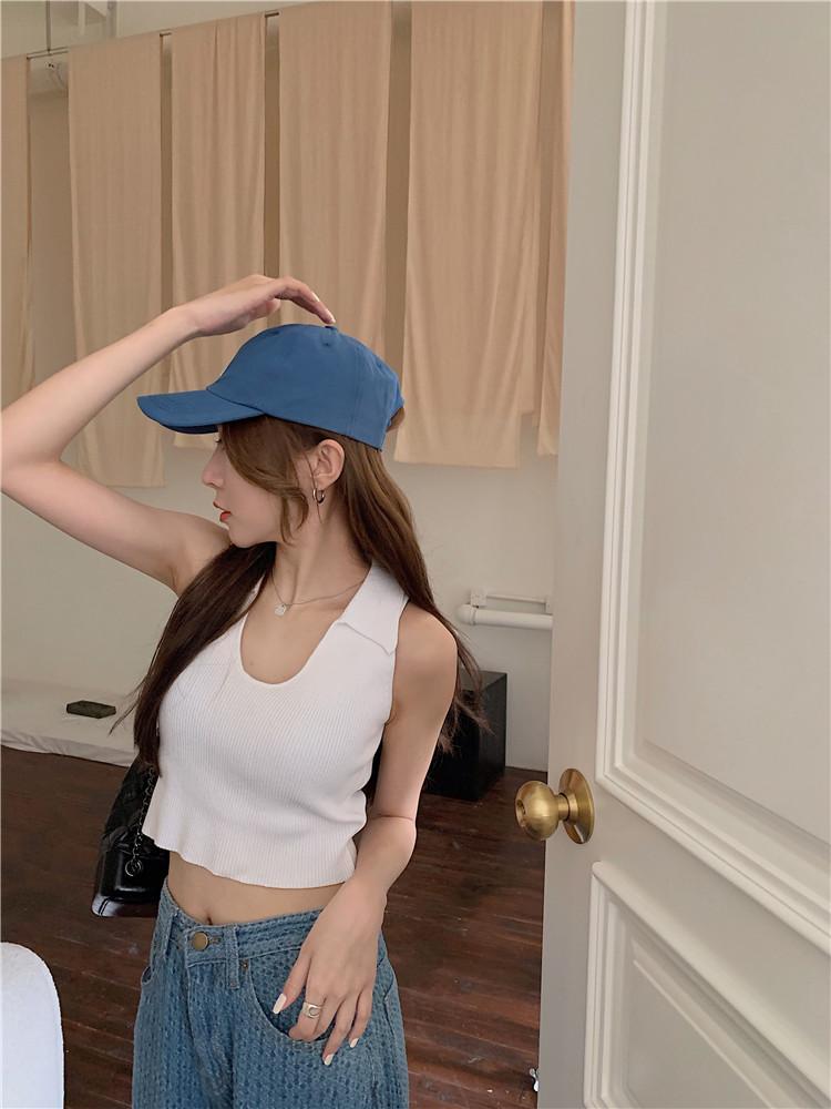 韓国 ファッション トップス Tシャツ カットソー 春 夏 カジュアル PTXK269  リブ 襟付き ノースリーブ 肌見せ キュート オルチャン シンプル 定番 セレカジの写真11枚目