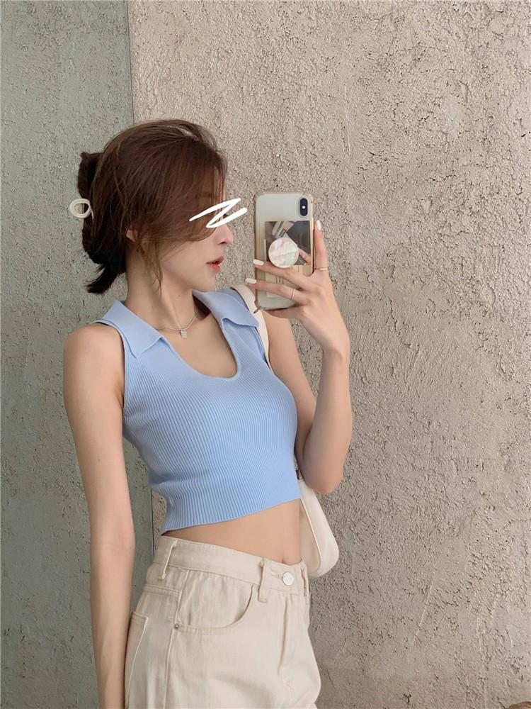 韓国 ファッション トップス Tシャツ カットソー 春 夏 カジュアル PTXK269  リブ 襟付き ノースリーブ 肌見せ キュート オルチャン シンプル 定番 セレカジの写真15枚目