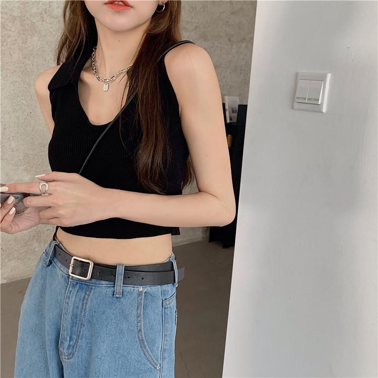 韓国 ファッション トップス Tシャツ カットソー 春 夏 カジュアル PTXK269  リブ 襟付き ノースリーブ 肌見せ キュート オルチャン シンプル 定番 セレカジの写真19枚目