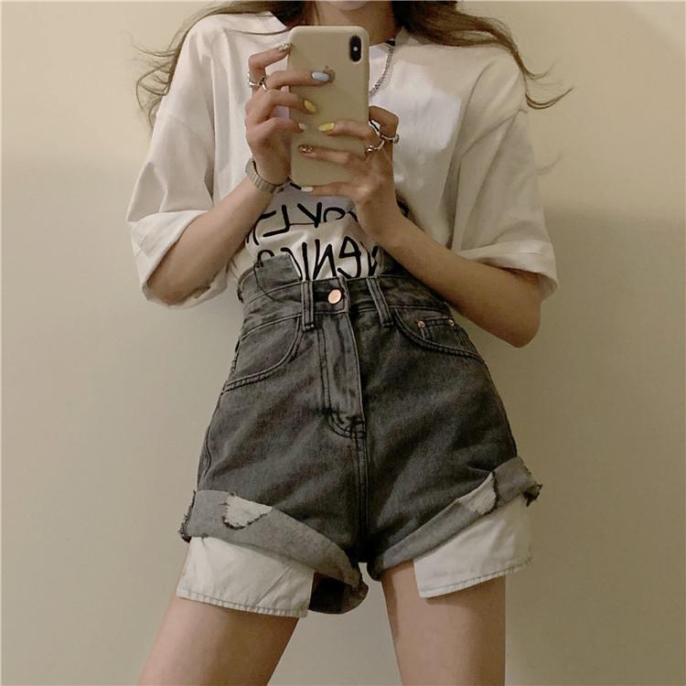 韓国 ファッション パンツ ショート ボトムス 春 夏 カジュアル PTXK277  デニム ハイウエスト ゆったり ダメージ オルチャン シンプル 定番 セレカジの写真3枚目