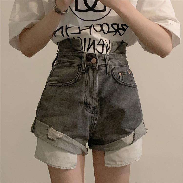 韓国 ファッション パンツ ショート ボトムス 春 夏 カジュアル PTXK277  デニム ハイウエスト ゆったり ダメージ オルチャン シンプル 定番 セレカジの写真4枚目