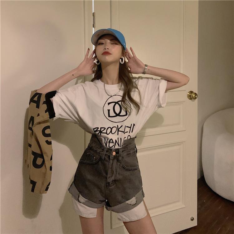 韓国 ファッション パンツ ショート ボトムス 春 夏 カジュアル PTXK277  デニム ハイウエスト ゆったり ダメージ オルチャン シンプル 定番 セレカジの写真5枚目