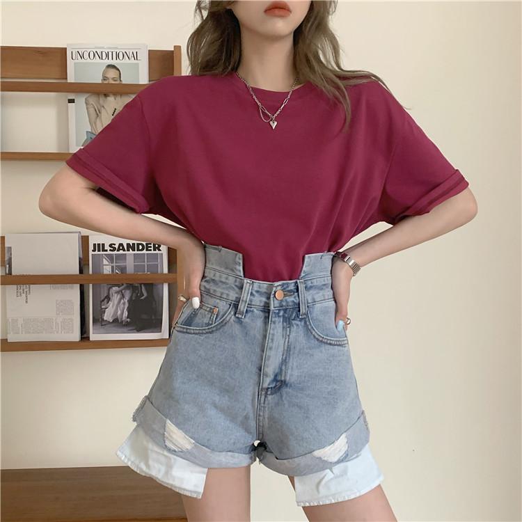 韓国 ファッション パンツ ショート ボトムス 春 夏 カジュアル PTXK277  デニム ハイウエスト ゆったり ダメージ オルチャン シンプル 定番 セレカジの写真7枚目