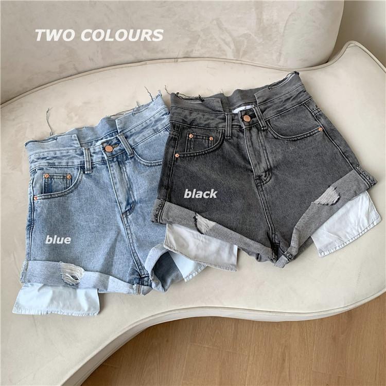 韓国 ファッション パンツ ショート ボトムス 春 夏 カジュアル PTXK277  デニム ハイウエスト ゆったり ダメージ オルチャン シンプル 定番 セレカジの写真8枚目
