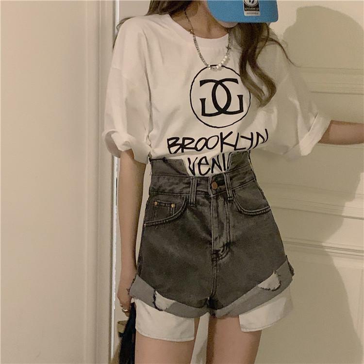 韓国 ファッション パンツ ショート ボトムス 春 夏 カジュアル PTXK277  デニム ハイウエスト ゆったり ダメージ オルチャン シンプル 定番 セレカジの写真10枚目