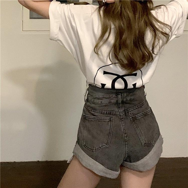 韓国 ファッション パンツ ショート ボトムス 春 夏 カジュアル PTXK277  デニム ハイウエスト ゆったり ダメージ オルチャン シンプル 定番 セレカジの写真13枚目