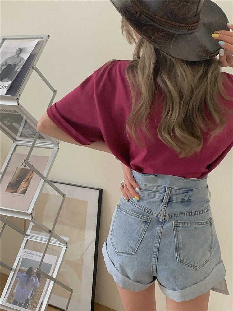韓国 ファッション パンツ ショート ボトムス 春 夏 カジュアル PTXK277  デニム ハイウエスト ゆったり ダメージ オルチャン シンプル 定番 セレカジの写真19枚目