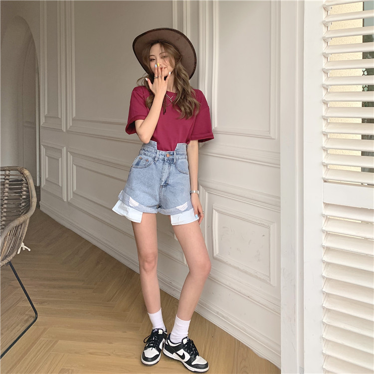 韓国 ファッション パンツ ショート ボトムス 春 夏 カジュアル PTXK277  デニム ハイウエスト ゆったり ダメージ オルチャン シンプル 定番 セレカジの写真20枚目