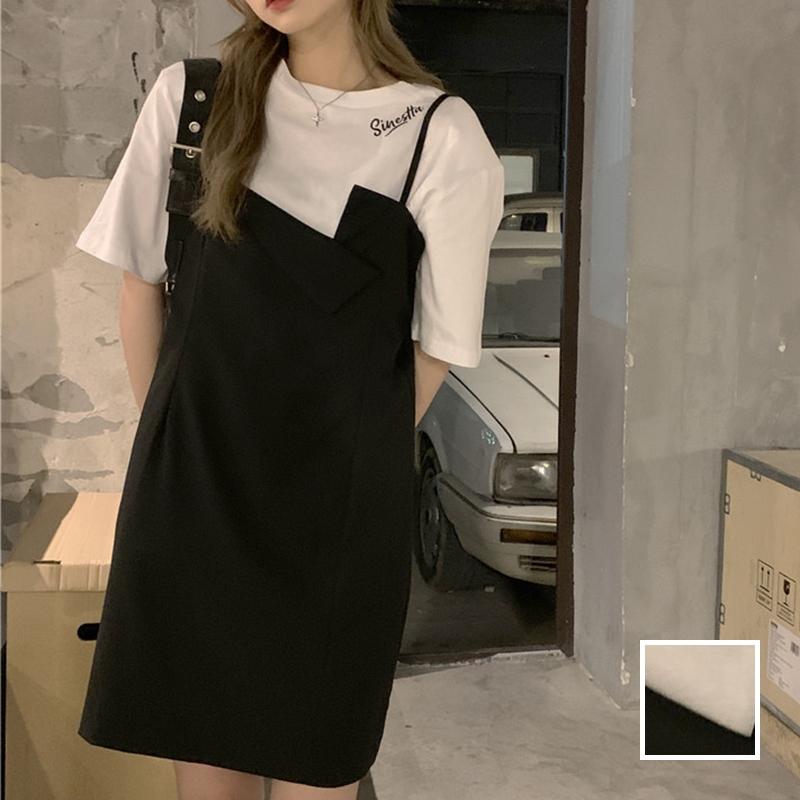 韓国 ファッション セットアップ 春 夏 カジュアル PTXK296  オーバーサイズ Tシャツ アシメ ゆったり オルチャン シンプル 定番 セレカジの写真1枚目