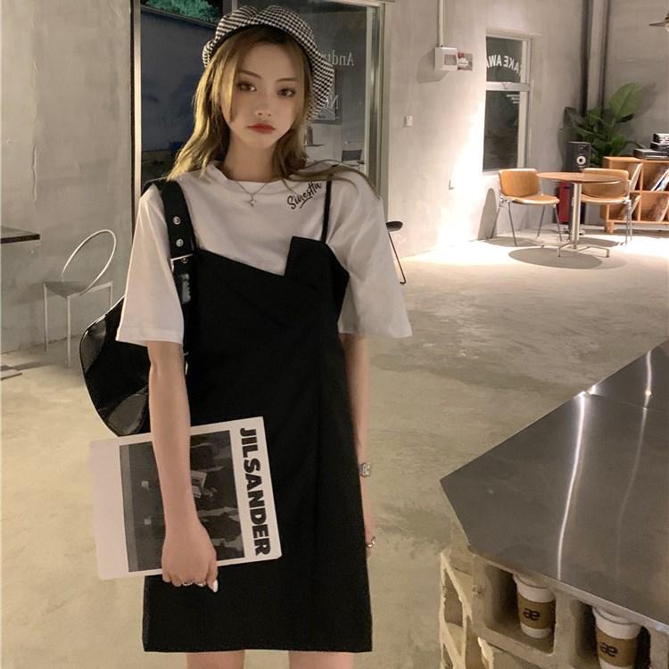 韓国 ファッション セットアップ 春 夏 カジュアル PTXK296  オーバーサイズ Tシャツ アシメ ゆったり オルチャン シンプル 定番 セレカジの写真3枚目