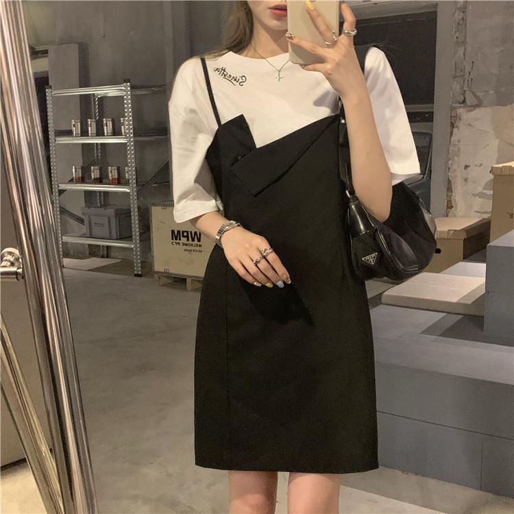 韓国 ファッション セットアップ 春 夏 カジュアル PTXK296  オーバーサイズ Tシャツ アシメ ゆったり オルチャン シンプル 定番 セレカジの写真4枚目