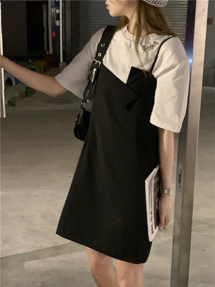 韓国 ファッション セットアップ 春 夏 カジュアル PTXK296  オーバーサイズ Tシャツ アシメ ゆったり オルチャン シンプル 定番 セレカジの写真6枚目