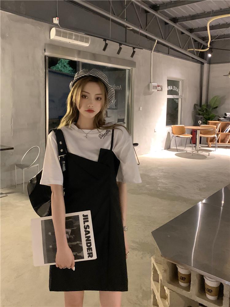 韓国 ファッション セットアップ 春 夏 カジュアル PTXK296  オーバーサイズ Tシャツ アシメ ゆったり オルチャン シンプル 定番 セレカジの写真7枚目