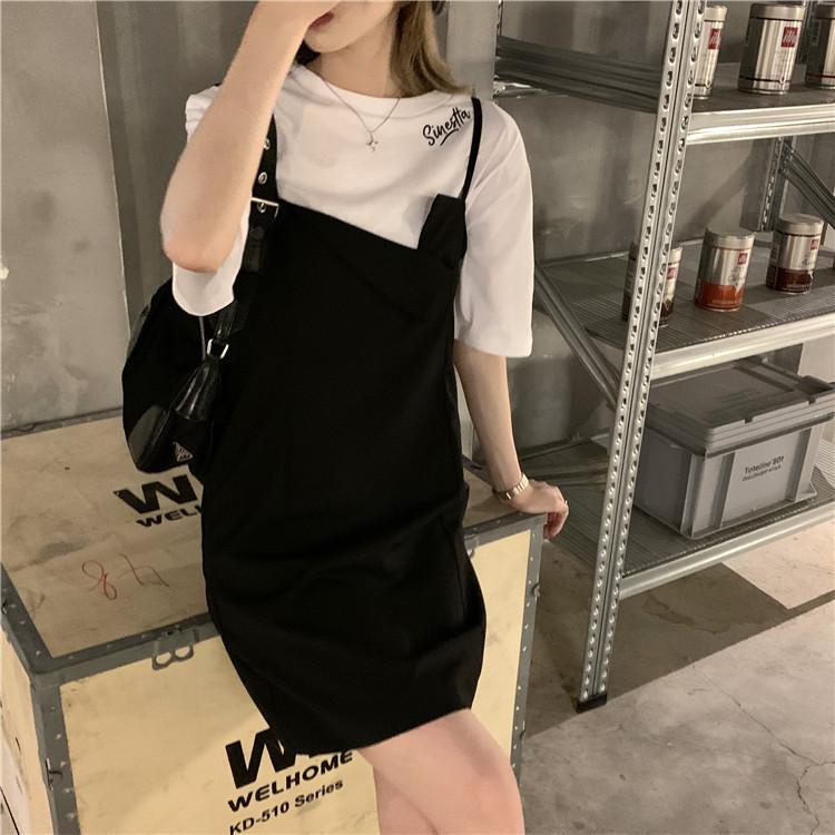 韓国 ファッション セットアップ 春 夏 カジュアル PTXK296  オーバーサイズ Tシャツ アシメ ゆったり オルチャン シンプル 定番 セレカジの写真8枚目